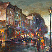 Early Evening In Main Street Nyack Poster