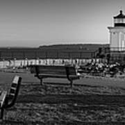 Early Morning At Bug Lighthouse Bw Poster