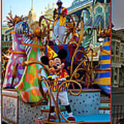 Early Morning Main Street With Mickey Walt Disney World 3 Panel Composite Poster