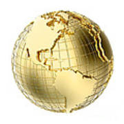 Earth In Gold Metal Isolated On White Poster