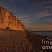 East Cliff Sunset Dorset Poster