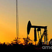 East Texas Pumpjack At Sunset Poster by Kathy  White