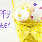 Easter Eggs In Basket Poster
