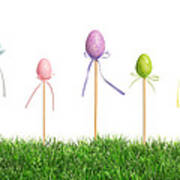 Easter Eggs In Grass Poster