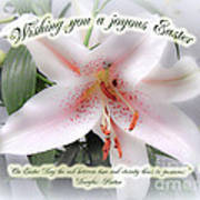Easter Greeting Card - White Lily With Quote Poster