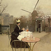 Eating Al Fresco Poster by Ramon Casas i Carbo