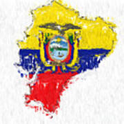 Ecuador Painted Flag Map Poster