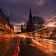 Edinburgh Dawn Fire In The Sky Poster