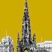 Edinburgh Skyline Scott Monument - Gold Poster
