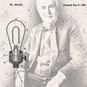 Edison And Electric Lamp Patent Poster