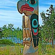 Edward Smarch Totem Pole At Teslin Tlingit Heritage Memorial Center In Teslin-yt Poster