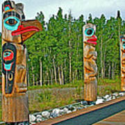 Edward Smarch Totem Poles At Teslin Tlingit Heritage Memorial Center In Teslin-yt Poster