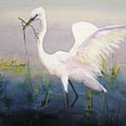 Egret In The Marsh Poster
