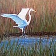 Egret Landing Poster