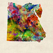 Egypt Watercolor Map Poster