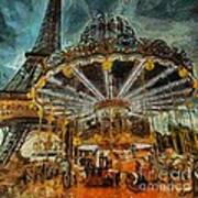 Eiffel Tower Carousel Poster