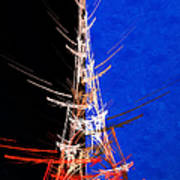 Eiffel Tower In Red On Blue  Abstract  Poster