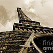 Eiffel Tower Paris France Black And White Poster