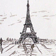 Eiffel Tower Rainy Day Poster