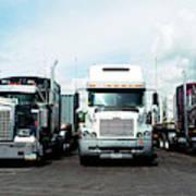 Eighteen Wheeler Vehicles On The Road Poster