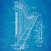 Ekman Harp Patent Art 1905 Blueprint Poster