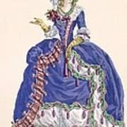 Elaborate Court Dress In Electric Blue Poster