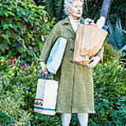 Elderly Shopper Statue Key West Poster