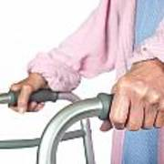 Elderly Woman Using Walker Poster