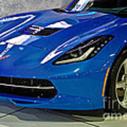 Electric Blue Corvette Poster