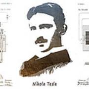 electric generator patent art Nikola Tesla Poster