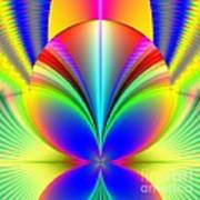 Electric Rainbow Orb Fractal Poster