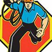 Electrician Worker Running Electrical Plug Poster