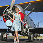 Elegant 1940s Style Pin-up Girl Poster