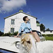 Elegant Woman And Borzoi Dog Poster