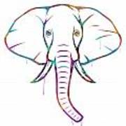 Elephant Watercolors - White Background Poster
