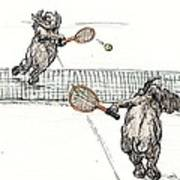 Elephants Playing Tennis Poster