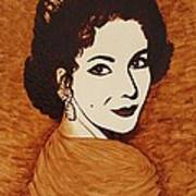 Elizabeth Taylor Original Coffee Painting On Paper Poster
