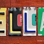 Ella License Plate Name Sign Fun Kid Room Decor. Poster