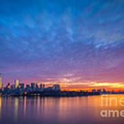 Ellis Island And Manhattan Sunrise Poster