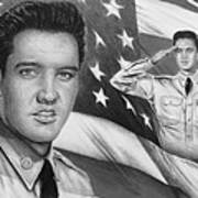 Elvis Patriot Bw Signed Poster by Andrew Read