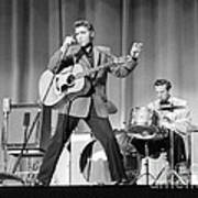 Elvis Presley and D.J. Fontana performing in 1956 Poster