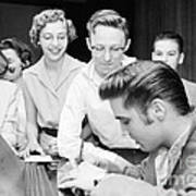 Elvis Presley Signing Autographs For Fans 1956 Poster