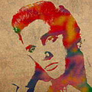 Elvis Presley Watercolor Portrait On Worn Distressed Canvas Poster