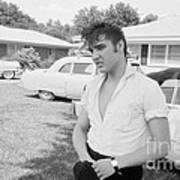 Elvis Presley with his Cadillacs Poster