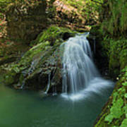Emerald Waterfall Poster