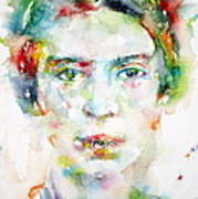 Emily Dickinson - Watercolor Portrait Poster