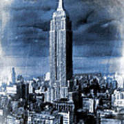 Empire State Building Blimp Docking Blue Poster