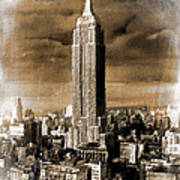 Empire State Building Blimp Docking Sepia Poster