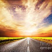 Empty Asphalt Road. Sunset Sky Poster