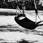 Empty Plastic Swing Swinging In A Garden In The Evening Poster